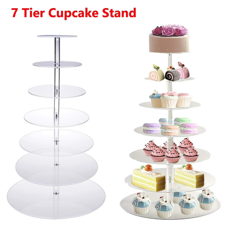 クリアラウンドケーキカップケーキツリータワーTeaウェディングパーティーアクリルカップケーキ表示ツリータワースタンド 7 Tier 7 Tier  B07DN9MH43