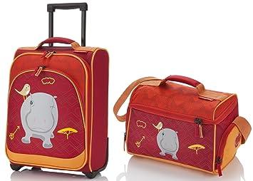 TRAVELITE - maleta con ruedas para niños + bolsa de viaje - hipopótamos - Youngster -