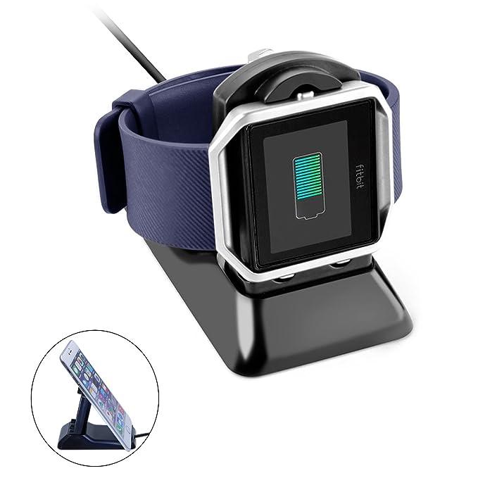 apphome Fitbit Blaze diseño de doble función Soporte de carga, soporte para teléfono + cargador USB Adaptador Accesorios Estación De Carga Soporte de ...