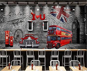 ADDFLOWER Wall Paper 3D Europen Retro Nostálgico Británico Tren ...