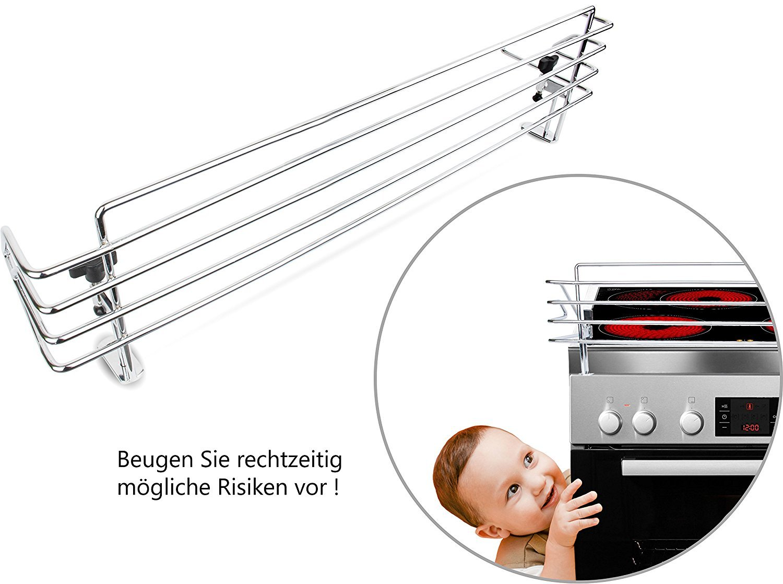 BOMI Herdschutzgitter MOWI Kinderschutzgitter zum Klemmen für alle Herdarten | aus Metall | ohne Bohren | 68 cm breit | Hochwertige Kindersicherheit am Herd
