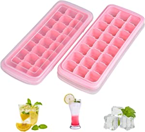 2 PCS Silicone Ice Cube Molds, AUSSUA Premium Ice Cube Trays with Lids, Flexible 48-Ice Trays BPA Free, for Chilled Drinks, Whiskey, Cocktail, Reusable Safe Square Ice Cube Mold(Pink)
