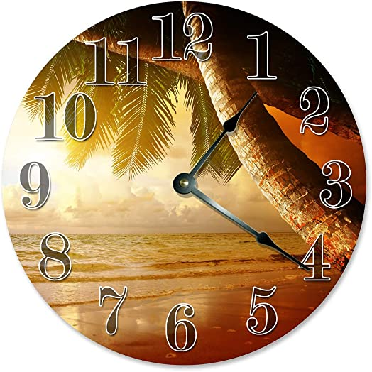 Sugar Vine Art Palm Trees Clock Large 10.5 Wall Clock Decorative Round Wall Clock Home Decor Novelty Clock Beach Sunset Sunrise