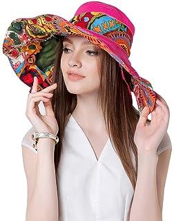 4c14650ec17 Women Ladies Girls Sun Hat Fashion Elegant Floral Large Brim Floppy Anti-UV  Sun Protection Foldable…