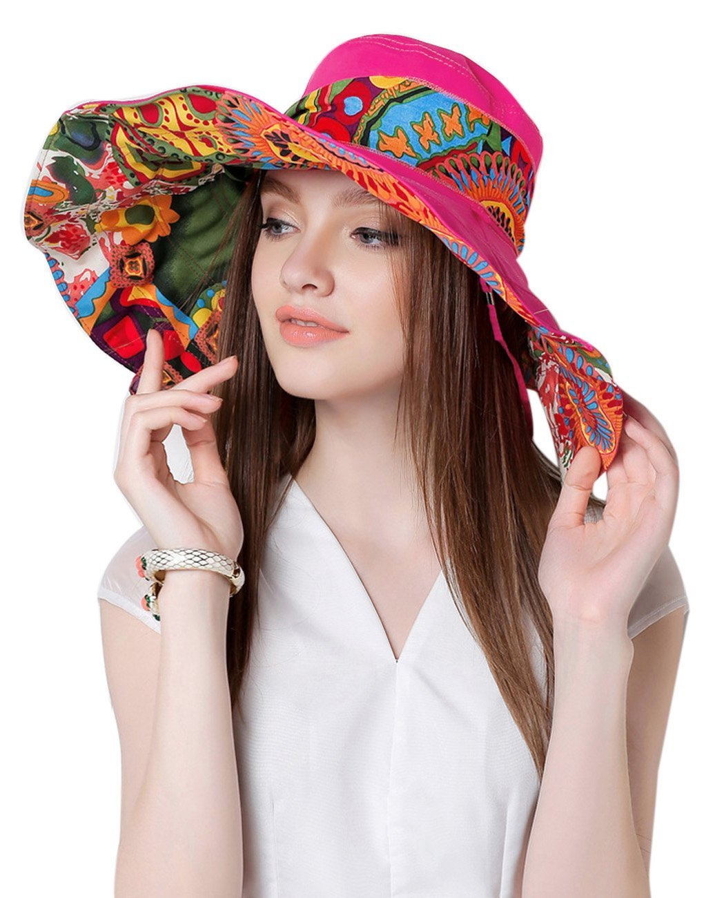 Women's Folding Floppy Wide Brim Anti UV Sun Protection Hat Reversible Beach Cap Greenery