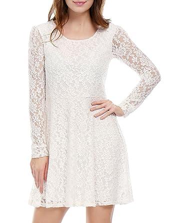 3e37976d42 Allegra K Women s Scoop Neck Sheer Long Sleeves Floral Lace Mini Skater  Dress - Medium -