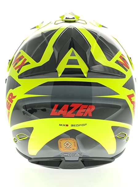 Amazon.es: Casco Mx Lazer Mx8 Pure Glass Geopop Amarillo-Negro-Rojo (M, Amarillo)