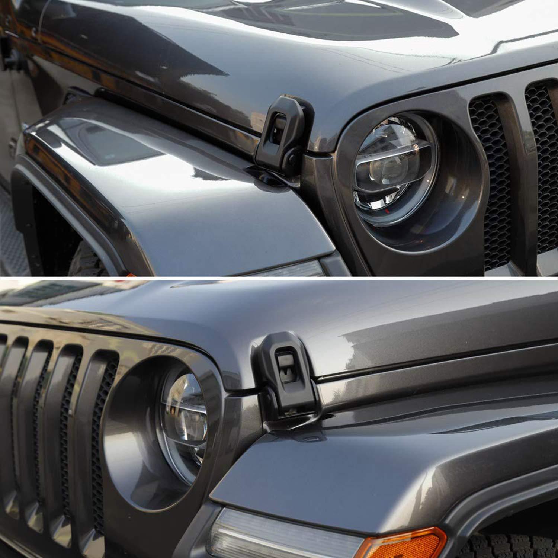 Cllena 2018 Jeep Wrangler JL Latch Locking Hood Catch Kit for Jeep Wrangler 2007-2019 JK JL
