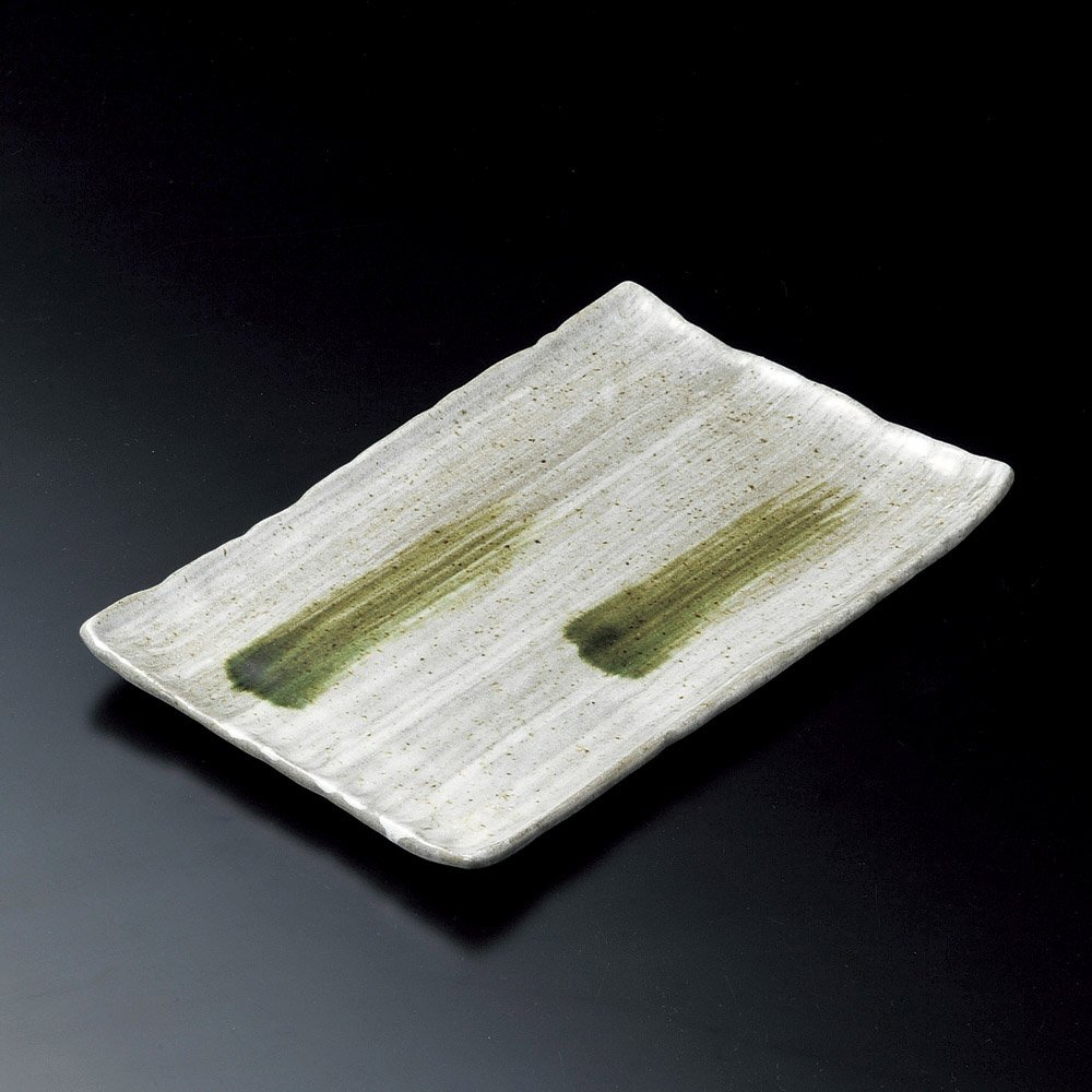 Square dish Celadon Oribe Sinkish Sushi dish size Clay 1100g Japanese dish plates traditional oriental asian 31.8 x 21cm
