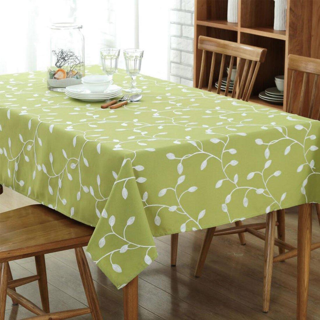 GWELL Baumwolle Leinen Tischdecke Eckig Abwaschbar Tischtuch Pflegeleicht Schmutzabweisend Frische Farbe & 7 Größe wählbar pink 100 * 140cm