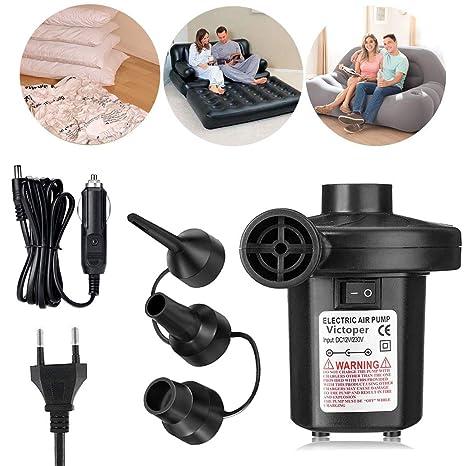 Wesho Bomba, 3 Boquillas Portátil Hinchador Eléctrico Inflador/Deflador para Colchones de Aire, 12V Cable de conexión del Coche Botes Inflables, ...