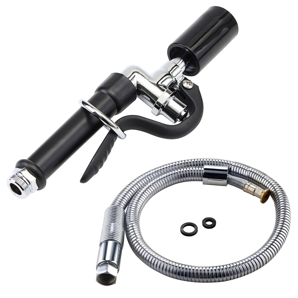 """Dugoo Pre Rinse Sprayer Head Commercial Faucet Pull-Out Kitchen Hand Shower Head High Pressure Tap Nozzle Stainless Steel Explosion-Proof Hose 38"""""""
