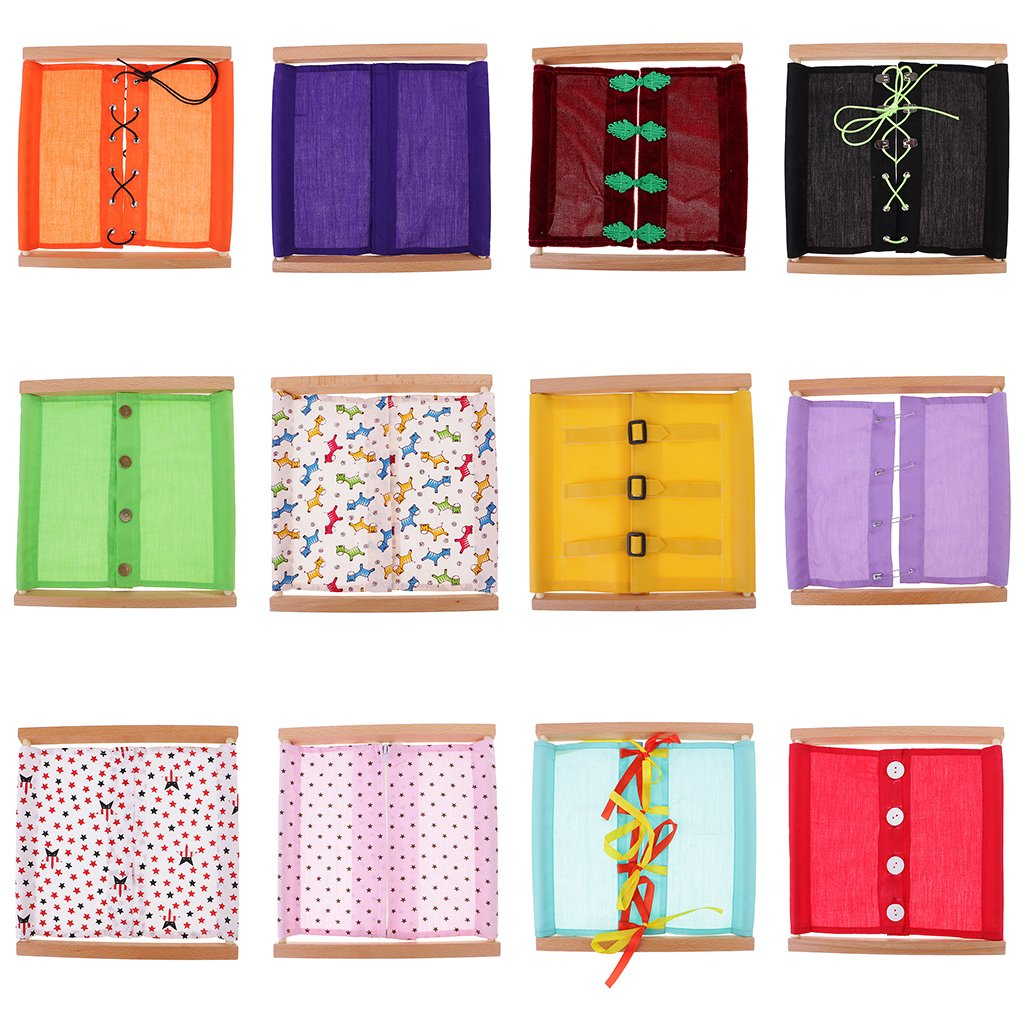 MonkeyJack Quality 12 Pack Montessori Wooden Material-Dressing Frame Kids Early Educational Toys