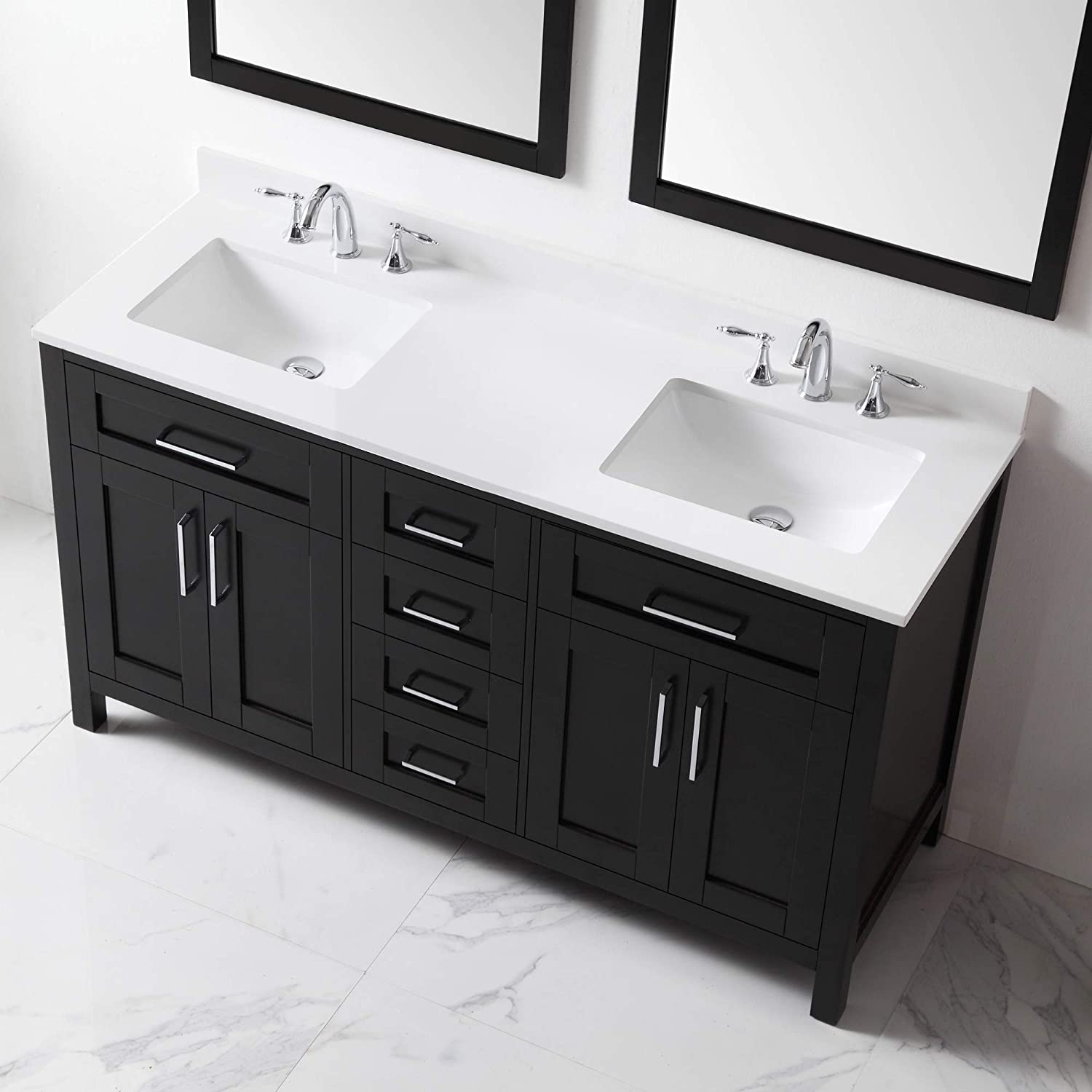 Ove Decors Tahoe 60e Quartz Top Bathroom Double Sink Vanity 60 Inch By 21 Inch Espresso Amazon Co Uk Diy Tools