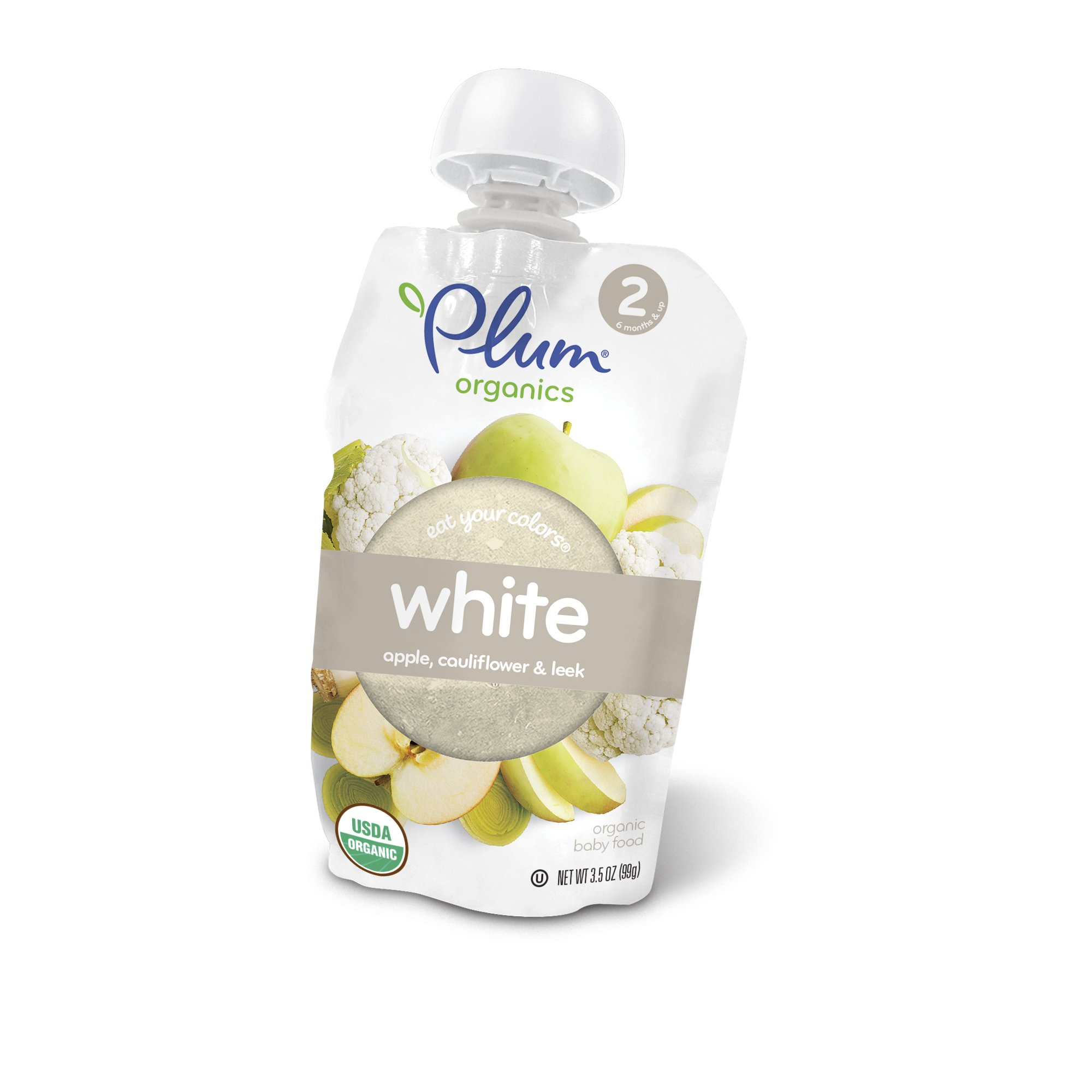 Plum Organics Stage 2 Eat Your Colors White, Organic Baby Food, Apple, Cauliflower and Leek, 3.5 ounce pouch (Pack of 6)