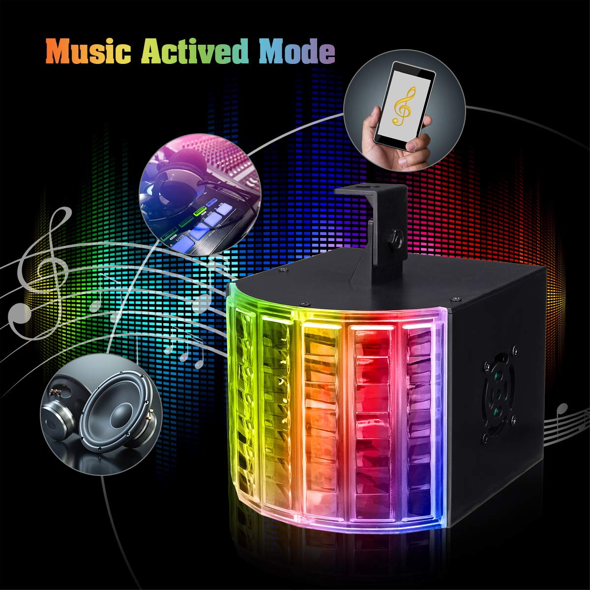 DJ Lights, SOLMORE Party Lights DMX512 Sound Actived Stage Disco Lights with Remote Control for Dance Parties Bar Karaoke Xmas Wedding Show Club 18W by SOLMORE (Image #2)