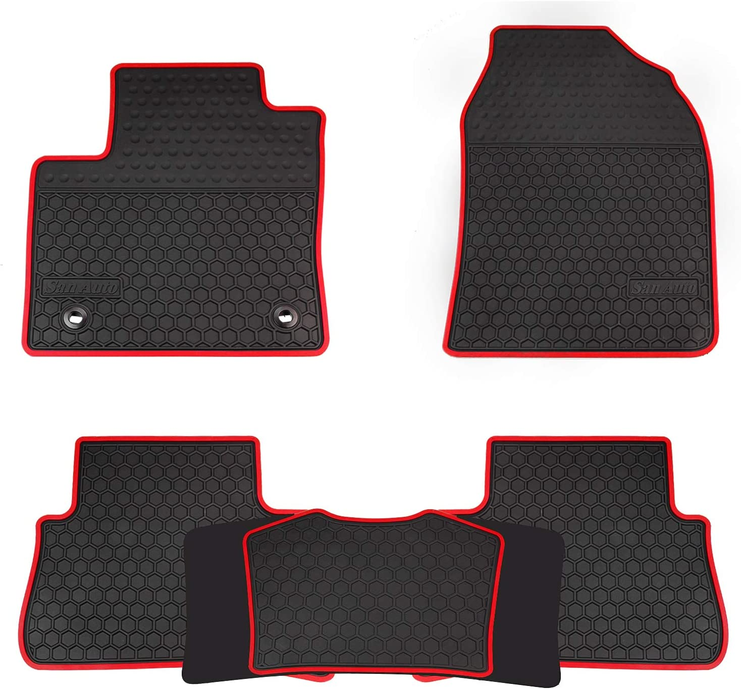San Auto Car Floor Mats Custom Fit for Toyota C-HR 2017 2018 2019 2020 Full Black Rubber Car Floor Liners Set All Weather Protection Heavy Duty Odorless