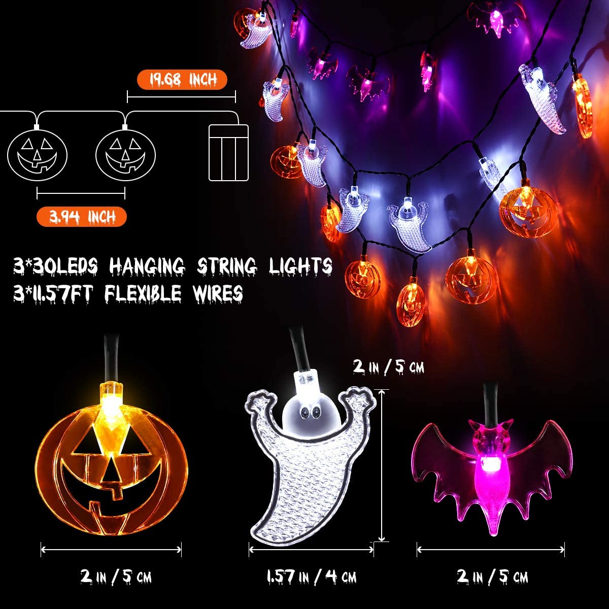 Halloween String Lights, 3 Pack LED Pumpkin Bat Ghost String Lights Halloween Decoration Lights for Party halloween night light