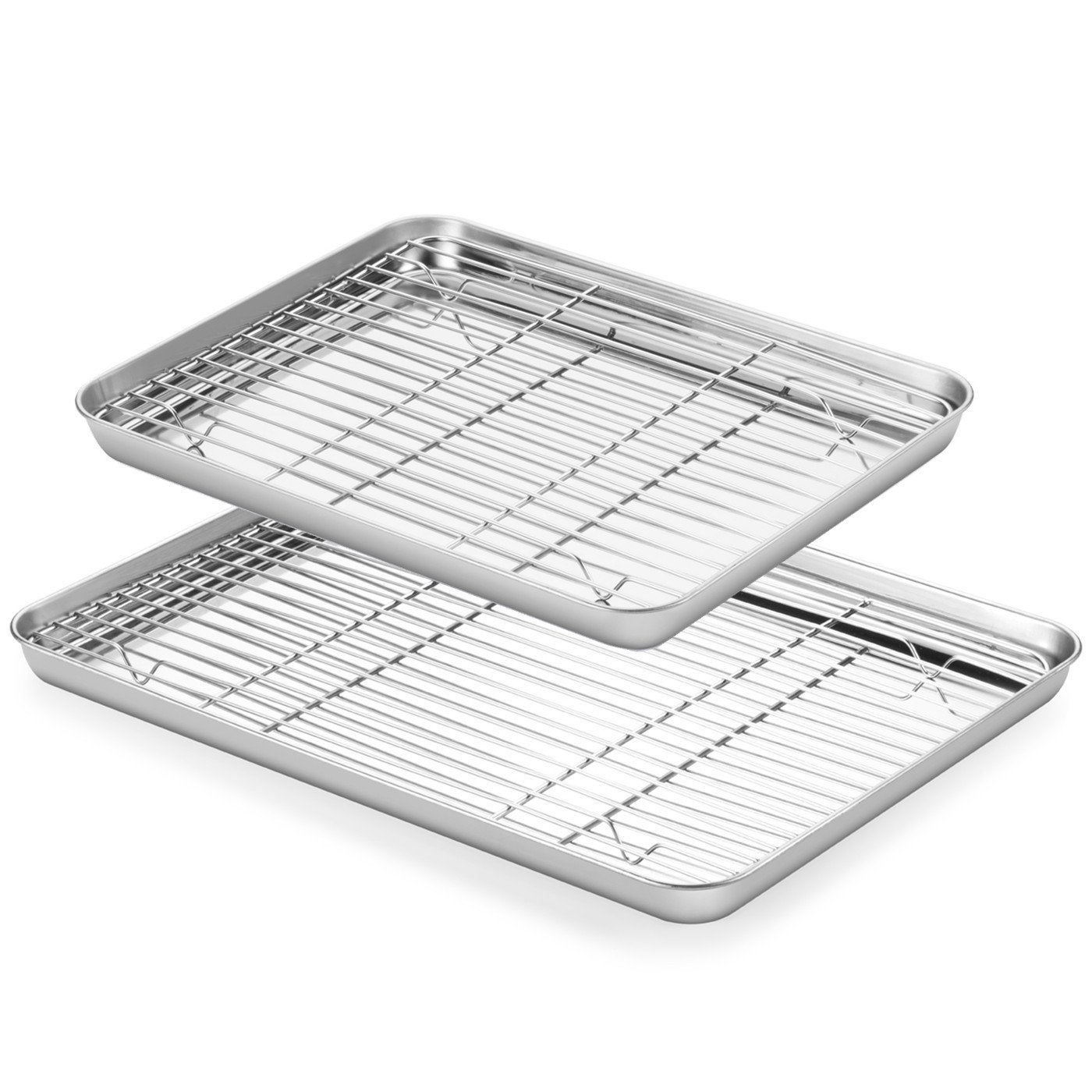 Baking Sheets and Rack Set, ASEL 2 Sets Stainless Steel Baking Pans Tray Cookie Sheet with Cooling Rack, Non Toxic & Healthy, Mirror Finish & Rust Free, Easy Clean & Dishwasher Safe