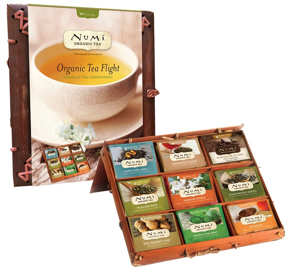 Numi Organic Tea Flight Variety Gift Set, 45 Bags, An Assortment of Teas in a Bamboo Tea Chest, Includes Black, Pu-erh, Green, Rooibos, and Herbal Teas, Organic Tea Gift Box