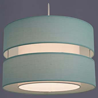 Lovely Duck Egg Blue Floral 2 Tier Light Shade Contemporary Lightshade