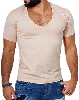 8d680b63561204 Young Rich   Rerock Herren Uni T-Shirt mit extra tiefem V-Ausschnitt Slimfit  deep