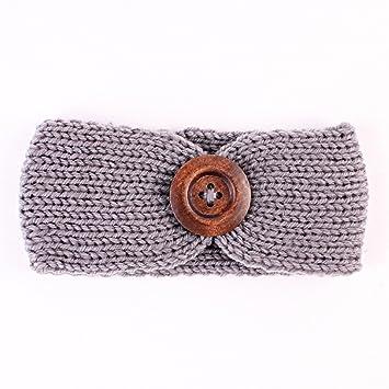 Weltweit Versandkostenfrei süß Top Qualität TININNA Kinder Mädchen Vintage Knopf Gestrickt Stirnbänder Crochet Strick  Haarband Turban Stirnband Ear Wärmer Grau EINWEG Verpackung