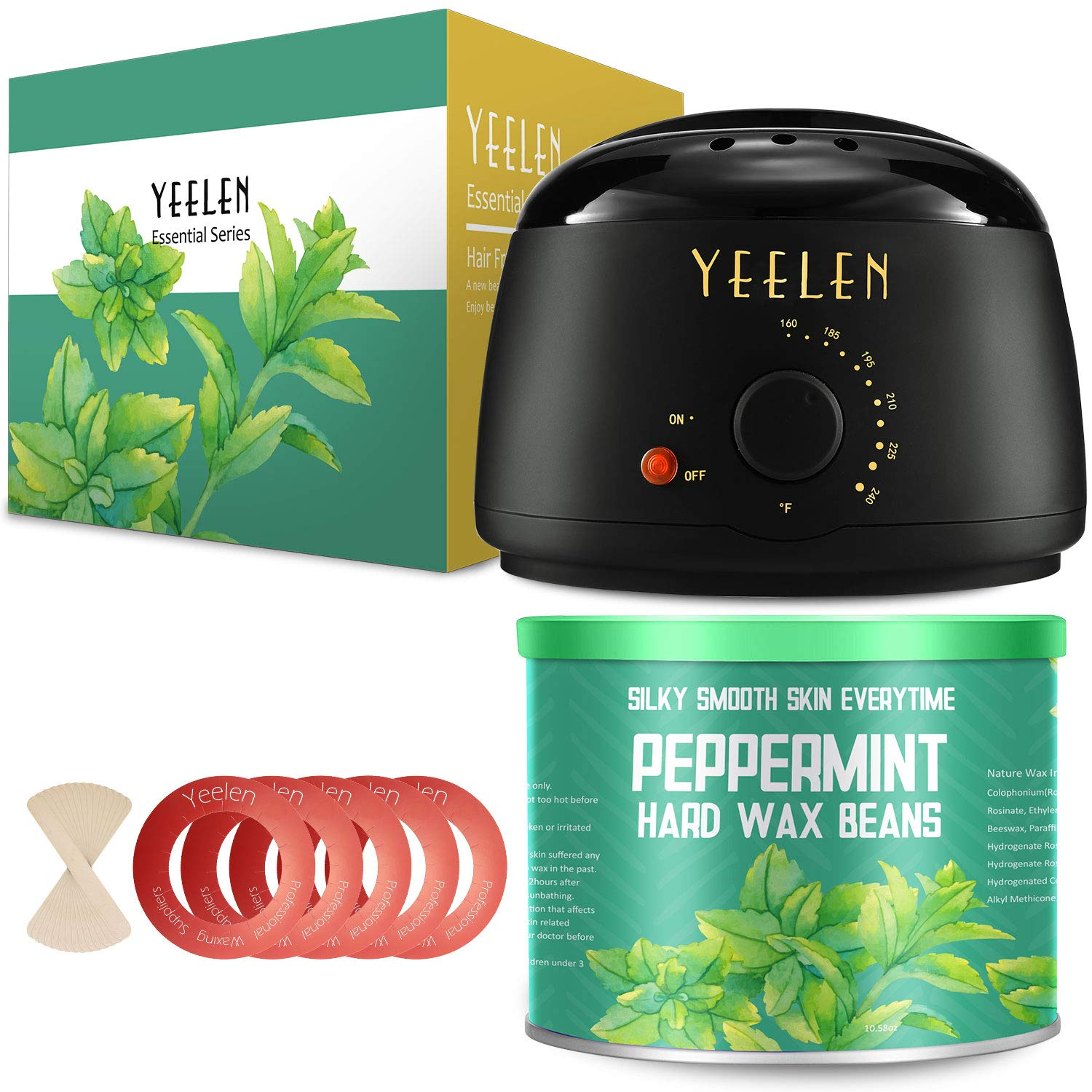 【Peppermint Essential Oil】Yeelen Waxing Kit Hair Removal Wax Warmer with 10.58oz Peppermint Essential Hard Wax Beans, Wax Applicator Sticks and Wax Warmer Collars