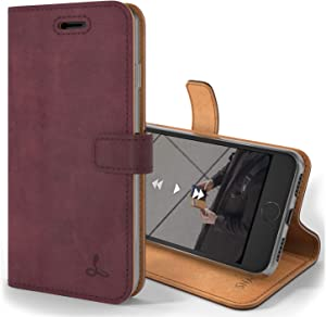 Snakehive Vintage Wallet for Apple iPhone 8 || Real Leather Wallet Phone Case || Genuine Leather with Viewing Stand & 3 Card Holder || Flip Folio Cover with Card Slot (Plum)