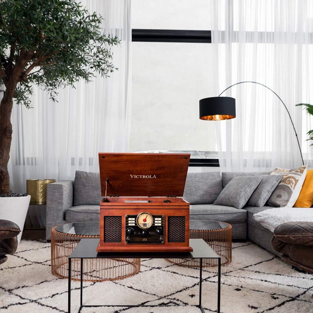 Victrola Classic Sistema de Sonido Tocadiscos 6-in-1 Bluetooth - Caoba
