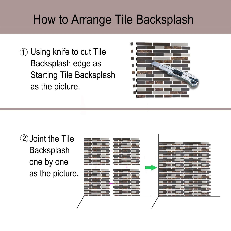 "Peel and Stick Backsplash,HONJAN Renters Groutless Removable Adhesive Vinyl Muretto Brina Backsplash Tiles for Kitchen Bathroom 10""x10"" Pack of 13 (A) by HONJAN (Image #5)"