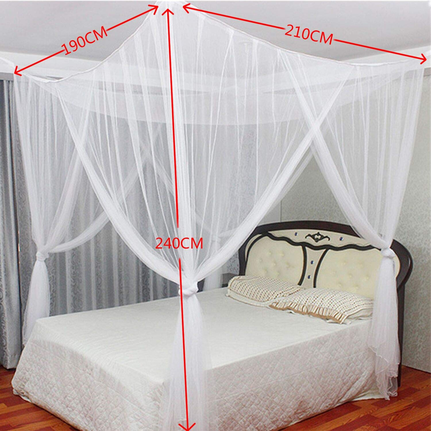 White Universal Square Mosquito Net for All Size Bed Digead Bed Canopy Hanging Bed Canopy Netting Four-Door Mosquito Net//Bed Canopy