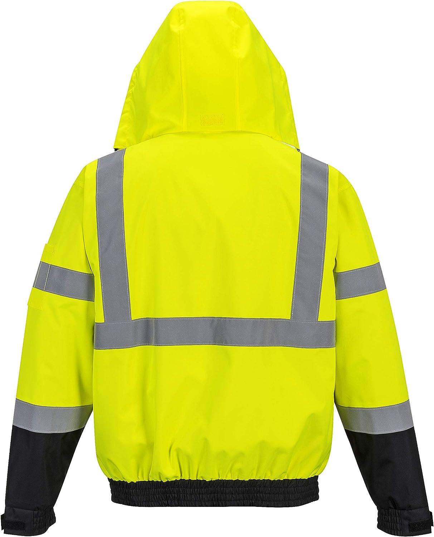 Portwest Hi-Vis 3in1 Premium Bomber JKT Viz Insulated Safety Visability Work Wear Rain ANSI 3