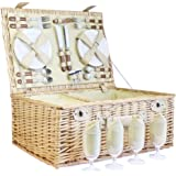 Deluxe Sutton 4 Person Picnic Basket - Luxury Wicker Fitted Hamper with Built in Chiller Compartment & Accessories - Gift Ideas for Mum, Mothers Day, Birthday, Wedding, Anniversary and Corporate