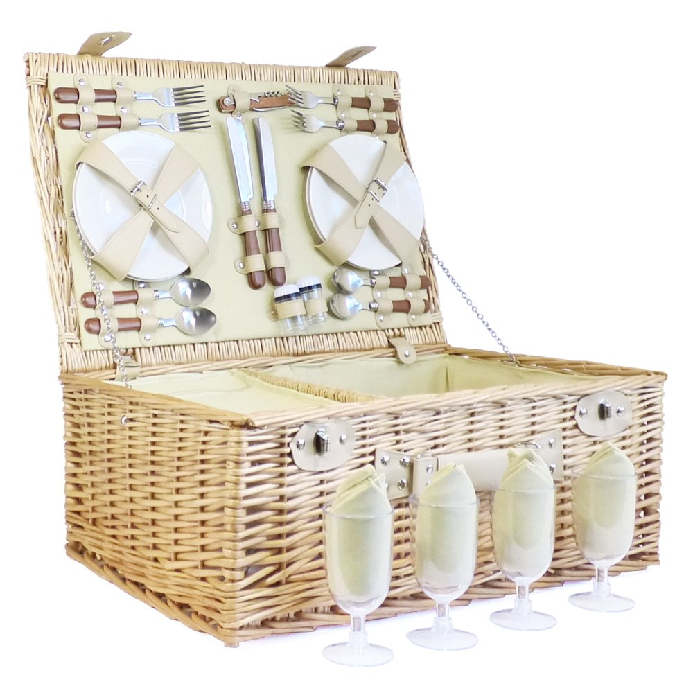 Deluxe Sutton 4 Person Picnic Basket - Luxury Wicker Fitted Hamper with Built in Chiller Compartment & Accessories - Gift Ideas for Mum, Mothers Day, Birthday, Wedding, Anniversary and Corporate Fine Food Store