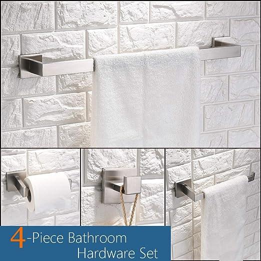Turs Juego de accesorios para baño (4 unidades, acero inoxidable, 50 cm, montaje en pared, acabado pulido), acero inoxidable, cepillado