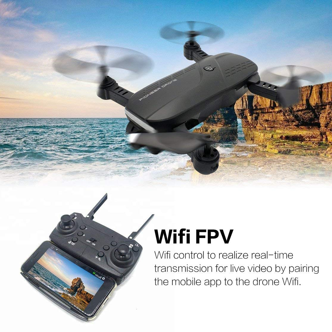 LouiseEvel215 RC Drone Quadcopter 1080P FPV Aeronave Posicionamiento /óptico C/ámara Doble Una tecla Marca de Retorno Vuelo Altitud Mantener