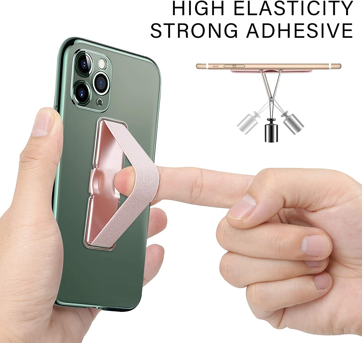Black Rose Gold 2PCS CISID Phone Grip Elastic Finger Holder Loop with Bracket Compatible with iPhone and All Smartphone Cases Phone Strap