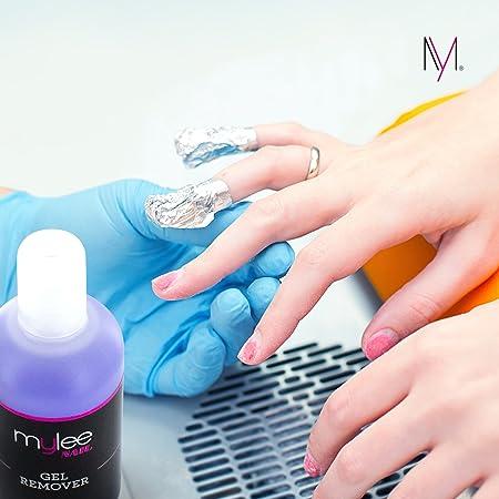 Mylee Quitaesmalte para Uñas de Gel con Acetona 250ml, Limpiador Profesional de Uñas UV LED para Manicuras y Pedicuras. Gel Nail Polish Remover: Amazon.es: ...