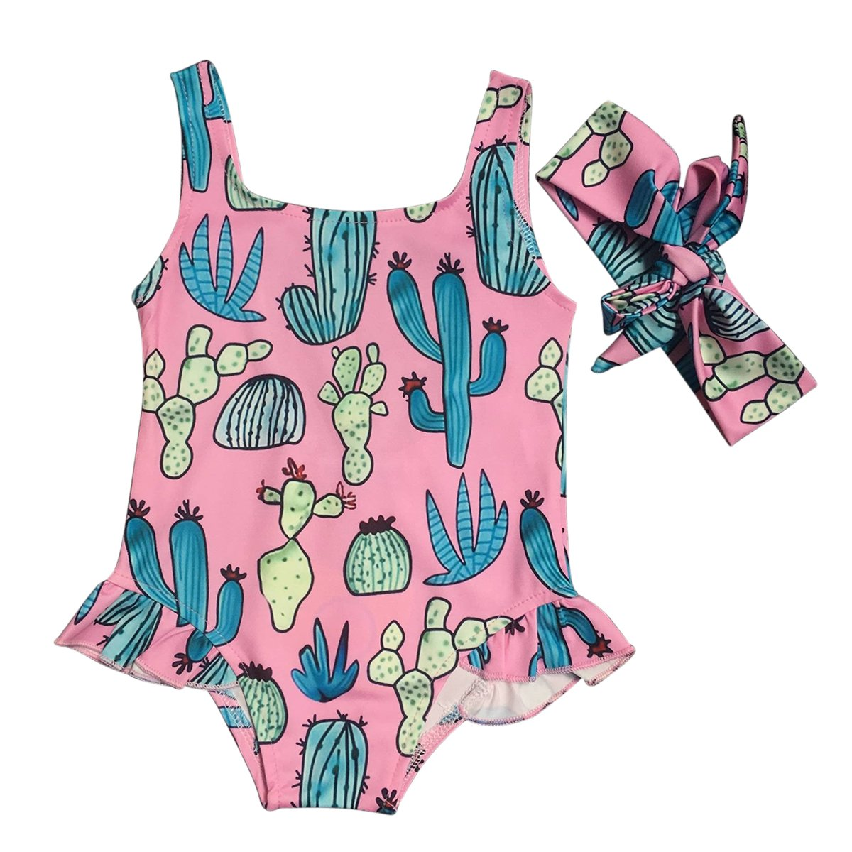 Infant Toddler Baby Girl Cactus Print One Piece Beachwear Swimsuit + Headband