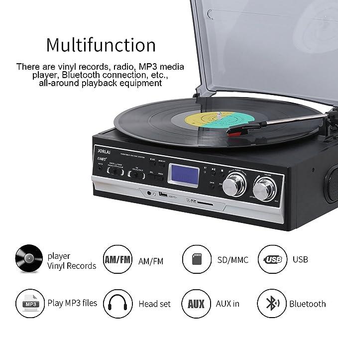 JORLAI 33/45/78 Tocadiscos con Pantalla LCD Radio FM Am Reproductor de Vinilo con Grabación Bluetooth USB / SD y Reproductor de MP3 Salida de Línea ...