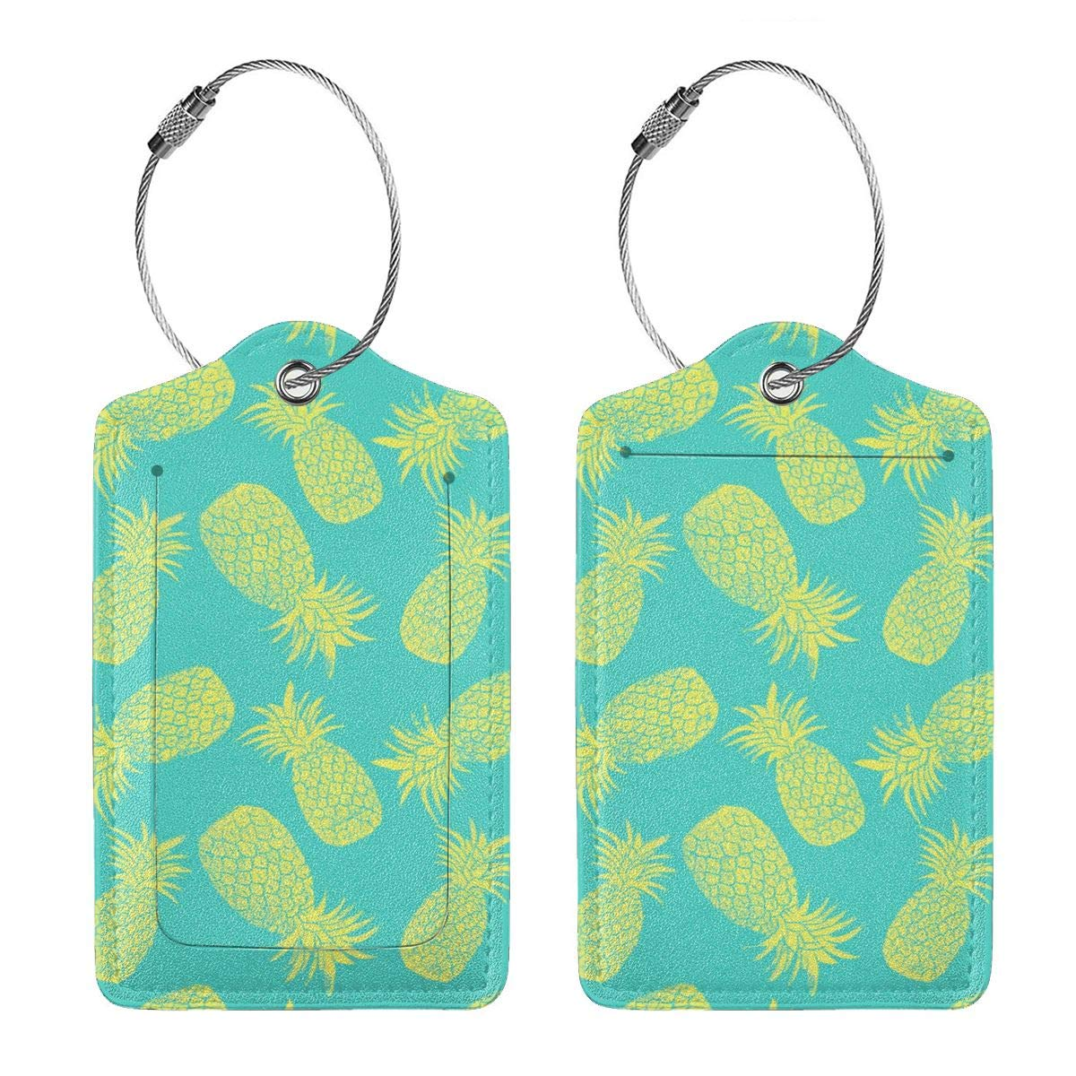 Leather Luggage Tags Full Privacy Cover and Stainless Steel Loop 1 2 4 Pcs Set Key Tags for Backpacks Travel Bags Gift Pineapple Pattern 2.7 x 4.6 Blank Tag