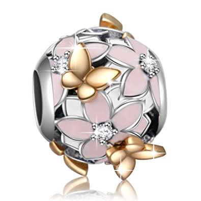 68961ba5c Angemiel 925 Sterling Silver Enamel Magnolia Bloom Charms with Gold Plated  Butterfly for European Snake Chain