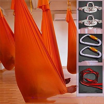 Alger Hamac de yoga élastique d'air avec un ensemble complet d'accessoires, 500 * 280cm , orange