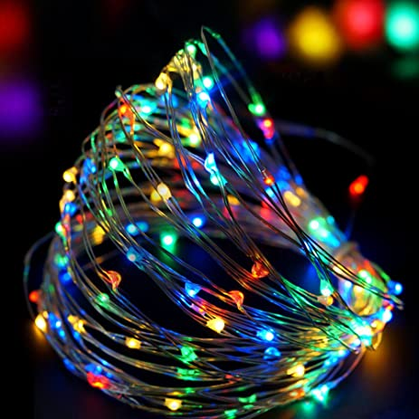 bright zeal 33 ft multicolor led string lights battery powered lights silvery wire - Led Multicolor Christmas Lights