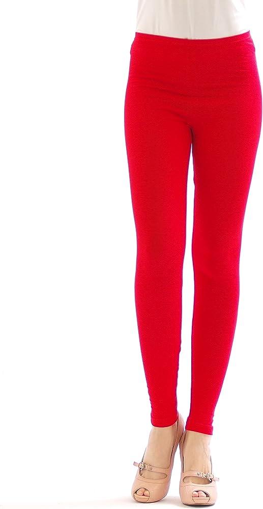 Leggins largos para mujer, algodón rojo S: Amazon.es: Ropa y accesorios