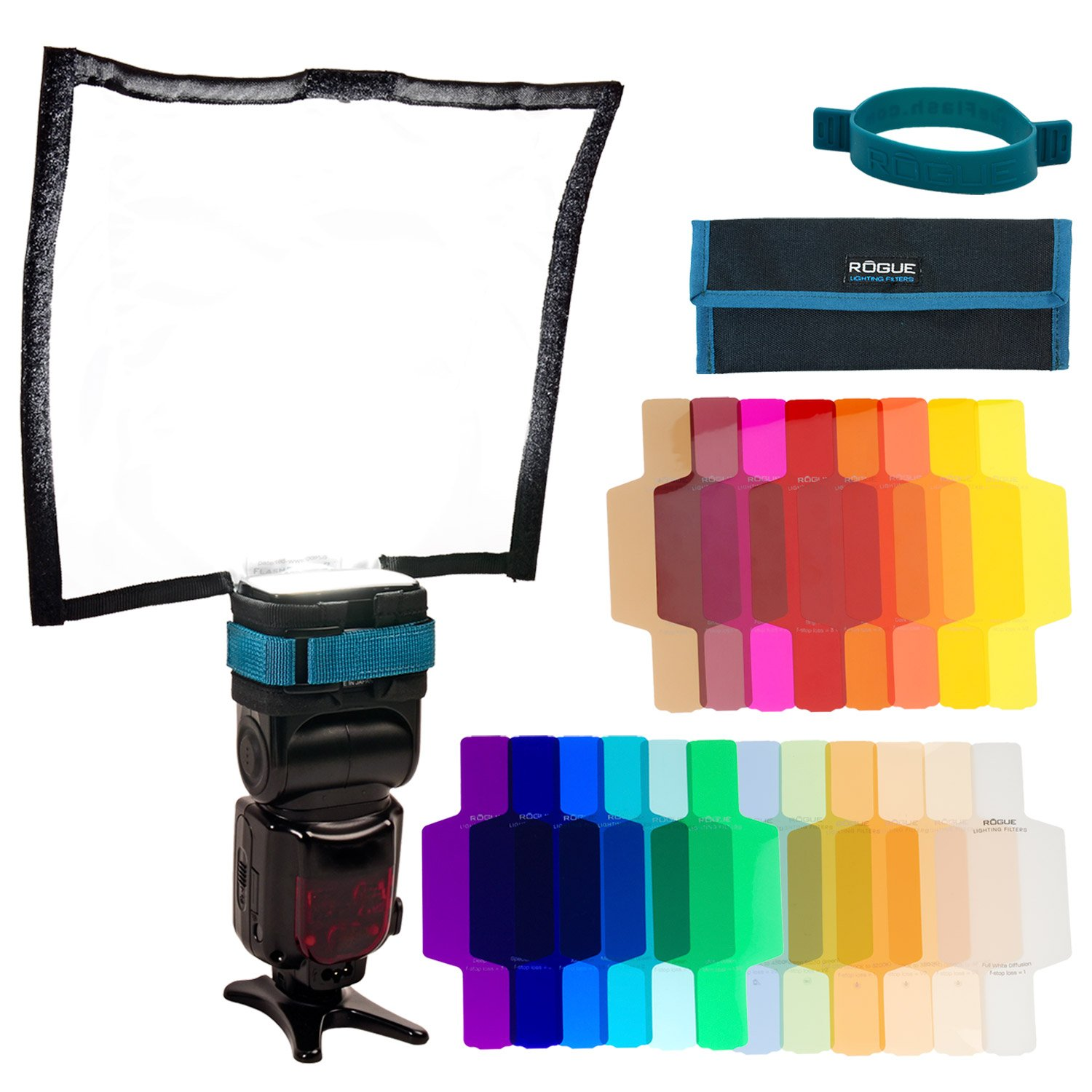 Rogue FlashBender 2 Large Reflector + Rogue Flash Gels - Combo Filter Kit (20 gels + attachment band)