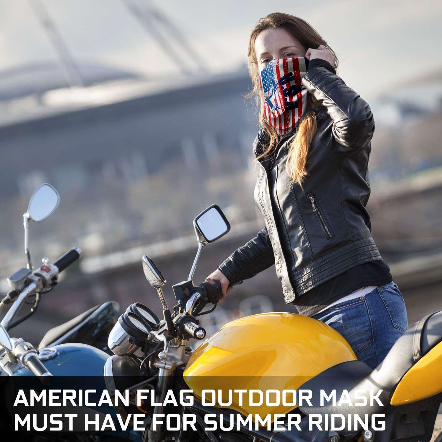 2 Pack American Flag Motorcycle Mask Outdoor Neck Scarf Headwear for ATV Riding Motorcycling Skiing