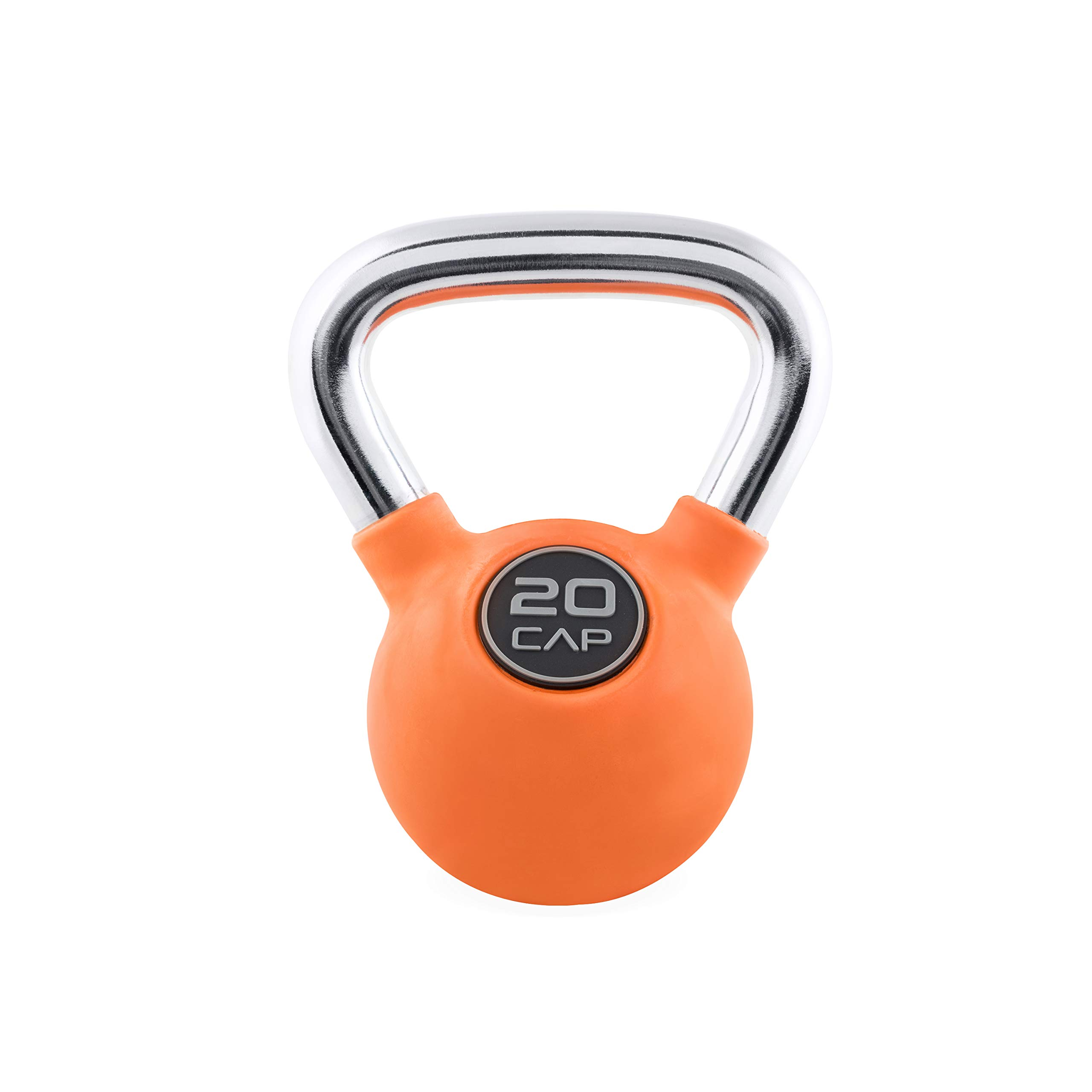 CAP Barbell Colored Rubber Coated Kettlebell with Chrome Handle, 20 lb