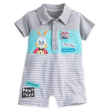 Amazon Com Disney Alice In Wonderland Rabbit Romper For Baby Clothing